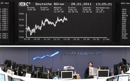 El parqué de Fráncfort en Alemania, ene 28 2011